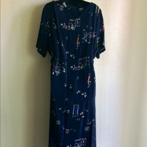 Blue Print Short Sleeved Maxi Dress Size 2X NWOTS